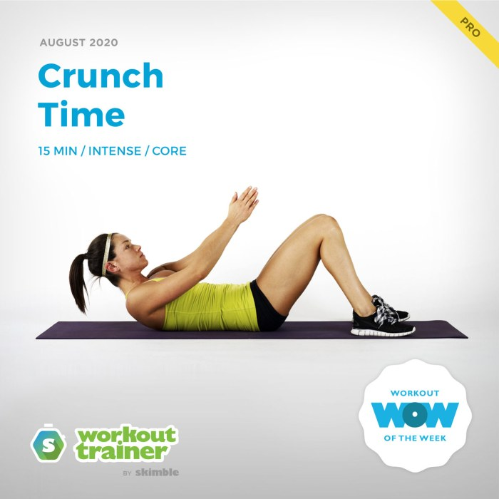 Female Trainer performing Ab Chop Ups exercise on yoga mat